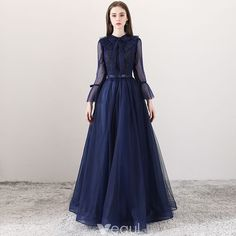 Modern / Fashion Navy Blue Evening Dresses 2018 A-Line / Princess Square Necklin. - - Modern / Fashion Navy Blue Evening Dresses 2018 A-Line / Princess Square Neckline Long Sleeve Bow Sash Floor-Length / Long Ruffle Backless Formal Dres. Trendy Dresses, Elegant Dresses, Beautiful Dresses, Nice Dresses, Short Dresses, Fashion Dresses, Dresses With Sleeves, Dress Outfits, Formal Dresses