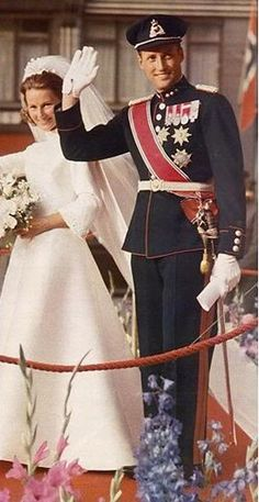 Royal Wedding in Norway ~ Crown Prince Harald and Sonja Haraldsen wed on 29th August 1968 at Oslo Domkirke. He succeeded to the throne of Norway upon the death of his father Olav V on 17 January 1991.