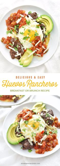 This quick and easy Huevos Rancheros recipe makes a colorful festive plate of good eats to enjoy for any meal of the day. Mexican Breakfast, Breakfast Dishes, Breakfast Time, Breakfast Recipes, Breakfast Ideas, Mexican Food Recipes, Vegetarian Recipes, Cooking Recipes, Healthy Recipes