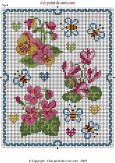 fiori e api 123 Cross Stitch, Cross Stitch Flowers, Bath And Beyond Coupon, Embroidery Patterns, Alphabet, Floral, Violets, Stitching, Models