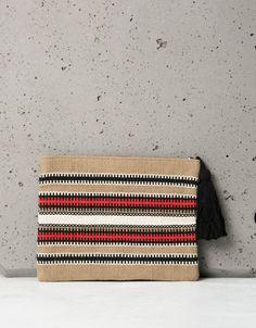 48a887b78237 Bershka Serbia - Ethnic striped portfolio bag with pompom Γυναικεία Αξεσουάρ