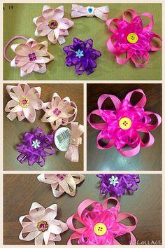DIY hair clip bow / ribbon flowers