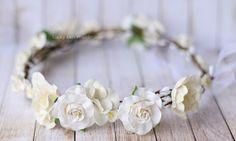 White woodland flower crown Wedding Flower by LuckyKidsHandmade
