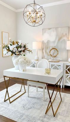 Home Office Furniture Design, Home Office Design, Home Interior Design, Cozy Home Office, Home Office Space, Office Desks, White Office Decor, Home Decor Inspiration, Home And Living