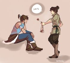 I love this because Bolin as a girl is adorable... which sounds really weird. We need a female earth bender again! One that's really cute and awesome and funny and sweet and like becomes best friends with Korra!