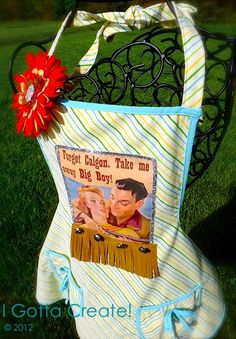 Use printable fabric to make saucy vintage aprons. Tutorial at I Gotta Create!