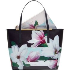 Ted Baker Carmel Magnolia Leather Shopper Bag, Navy (€200) ❤ liked on Polyvore featuring bags, handbags, tote bags, handbags totes, genuine leather tote, shopper tote, zip top leather tote and floral tote