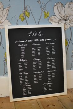 Framed Chalkboard Wedding Table/Seating Plan - Unique And Bespoke For You on Etsy, £70.00