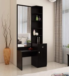 Buy Kosmo Premium Dressing Table in Natural Wenge Woodpore Melamine Finish by Spacewood Online – Dressing Units – Tables – Furniture – Pepperfry Product Dressing Table Mirror Design, Modern Dressing Table Designs, Wardrobe With Dressing Table, Dressing Table Storage, Dressing Room Decor, Bedroom Dressing Table, Dressing Room Design, Dressing Tables, Cupboard With Dressing Table