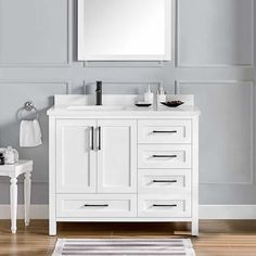 Lourdes Vanity by OVE Decors White Cultured Stone Countertop Solid Wood Cabinet Construction Soft-close Door Hinges and Drawer Glides 42 Inch Vanity, 72 Vanity, 42 Inch Bathroom Vanity, Narrow Bathroom Vanities, Gray Vanity, Vanity Decor, Bathroom Sinks, Double Vanity, Playroom Furniture