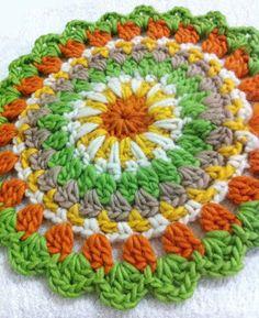 Mandala Motif By Penny Sekartaji - Free Crochet Pattern - (simplypenny) Crochet Mandala Pattern, Crochet Circles, Crochet Round, Crochet Squares, Love Crochet, Crochet Crafts, Crochet Yarn, Crochet Stitches, Crochet Projects