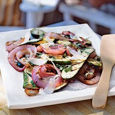 Italian Grilled Zucchini and Red Onion                             This simple side dish is tastiest at room temperature, so it's an ideal make-ahead. Any leftovers would be good the next day                                for lunch with couscous.