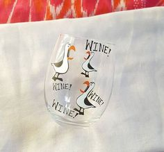 Finding Nemo Seagulls Wine Glass, Disney Wine Glass