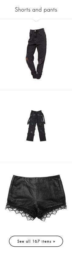 """Shorts and pants"" by bubblegumbae ❤ liked on Polyvore featuring pants, bottoms, jeans, trousers, goth, men, dark pants, gothic pants, gothic trousers and goth pants"