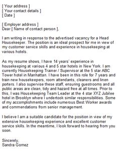 housekeeping coverletter