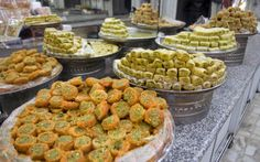 Pile of sweet baklava delights for sale at the Old City...