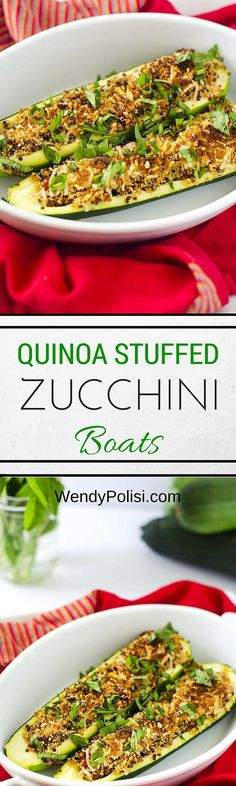 Quinoa Stuffed Zucchini Boats - Enjoy this healthy recipe as a dinner side dish or with a salad for lunch!  - WendyPolisi.com