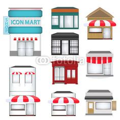 Set of Cartoon Shops set, cafe, town, view, door, icon, city, shop, urban, house, store, style, street, square, vector, modern, window, bakery, cartoon, downtown, isolated, business, building, exterior, structure, mini mark, illustration, architecture, coffee shop