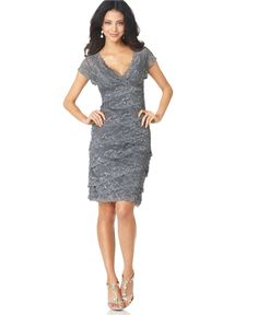 Marina lace cap sleeved dress with sequins. Saw this in purple at Macy's. Love it for a possible bridesmaid dress.