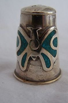 """Vintage Sterling Silver 1 1 8"""" Tall Thimble Butterfly Turquoise Inlay 