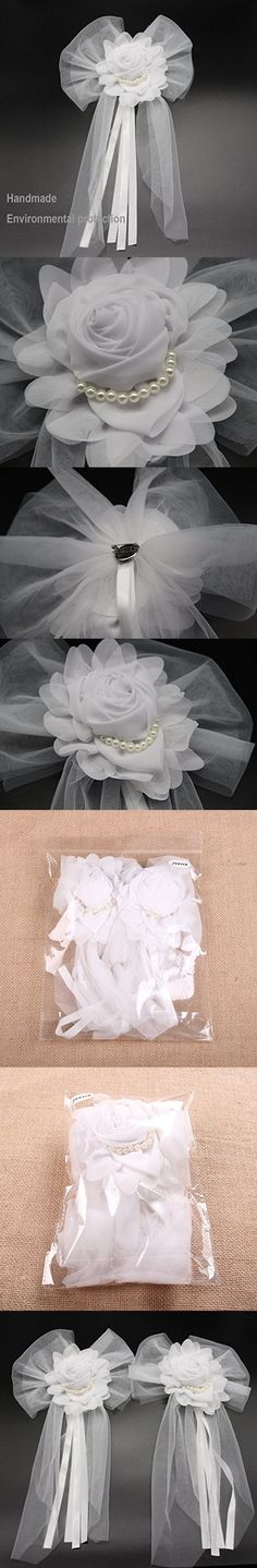 Junxia Pearl Bud Silk Ribbon Flower for Wedding Party Decoration,Bridal Car,Wedding Car Decoration 2 pcs /set