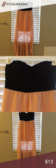 Black & Pink High Low Dress. Criss Cross Back! Black Strapless High Low Dress. Light pink sheer silk bottom. Criss cross design on black with built in bra. Spandex criss cross straps on back. Zips up side. Charlotte Russe Dresses High Low