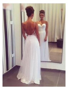 Sexy Beach Backless Spaghetti Straps Tulle A-Line Wedding Dress
