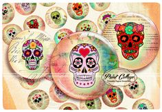 Buttons Pinback Digital Printable Images for Button machine 1.313 inch Flatback Buttons Flair Buttons Clip art Sugar Skulls b174 - pinned by pin4etsy.com