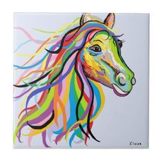 Horse of a Different Color Ceramic Tile - decor gifts diy home & living cyo giftidea