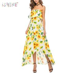 cdb9189565 Aliexpress.com : Buy New 2018 Sexy Off Shoulder Long Maxi Summer Dress  Women Boho Prairie Chic Ruffle Beach Sundress vestidos from Reliable Dresses  ...