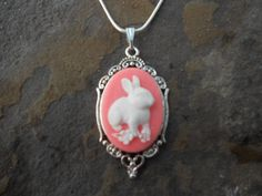 """Stunning White Bunny Rabbit (on a pink background) Cameo Pendant Necklace---.925 plated 22"""" Chain--- Great Quality - pinned by pin4etsy.com"""