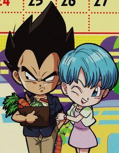 Chibi Vegeta and Bulma So cute♥