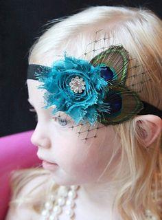 Princess Birthday Headbands - Baby Girls Flower Headband, Baby Peacock Feather Hair Band, Infant Hair Bow, Baby Floral Headband With Diamond Embellishment, Shabby Chic, Newborn Headbands, Christmas Hair Accessories for My Little Daughters