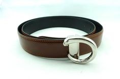Reversible Cartier Panther Black Brown Leather Belt Silver Buckle