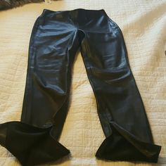 Zara black faux leather pants Zara. Lack faux leather pants with side ankle zippers and side waist zipper with elastic waist Zara Pants Skinny