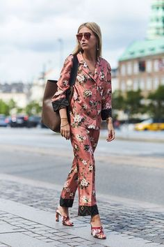 Street Style_ decorative soft lounge dressing in pyjama suiting || Saved by Gabby Fincham ||