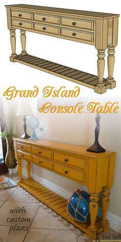 Need a stylish console table, perfect for your space? Free plans that you can easily customize the dimensions and build what you want. Buy the legs and DIY'ing is a breeze.