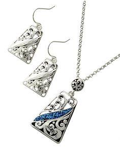 Antique Silver Tone / Blue Glitter Epoxy / Lead&nickel Compliant / Metal / Fish Hook (earrings) / Filigree / Pendant / Necklace & Earring Set