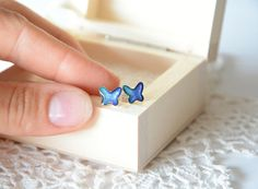 Sterling silver butterfly studs earrings tiny by BalanceAtelier