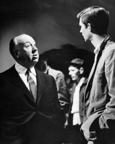 Alfred Hitchcock with Anthony Perkins on the set of Psycho, 1960.
