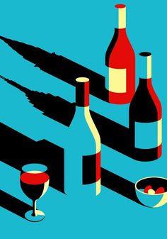 Illustration for the Wall Street Journal in New York and was created by Malika Favre. Some of her clients include Penguin Books, Sephora, Vogue and many others. Wine Art, Illustrators, Illustrations And Posters, Graphic Illustration, Graphic Design Illustration, Pop Art, Space Art, Negative Space Art, Vector Art
