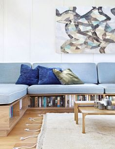 A Cleverly Updated Queenslander (The Design Files) Living Room Sofa, Living Spaces, Tiny Living Rooms, Living Area, Built In Couch, Built In Furniture, House Furniture, Built In Seating, Banquettes