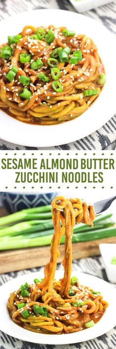 Possibly keto? These sesame almond butter zucchini noodles make a healthy meal that takes about 20 minutes to make! The sesame almond butter sauce coats the 'zoodles' beautifully making this spiralizer recipe a hearty and satisfying dish. Zoodle Recipes, Spiralizer Recipes, Vegetable Recipes, Asian Recipes, Vegetarian Recipes, Healthy Recipes, Vegetarian Tapas, Keto Recipes, Healthy Cooking