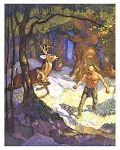"Study in light and Shade: N. C. Wyeth-""Uncas Slays a Deer"" from Last of the Mohicans"