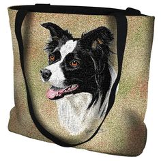Border Collie Dog Portrait Tote Bag