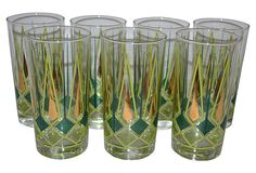 Gold and Green Diamond Tumblers