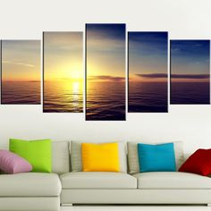 5 Piece Set Natural Landscape Canvas Wall Painting  sea ocean Sunset Landscape Wall Art Canvas Painting natural nature landscape sky Canvases home decor ideas wall products art panels designs art beautiful living rooms art sets gift decoration ideas awesome cool unique cheap inspirational backgrounds for sale buy online shopping shops website links AuhaShop.com