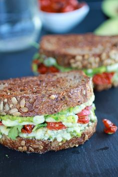 Blue Cheese + Smashed Avocado Roasted Tomato Grilled Cheese