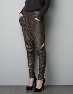 SEQUINNED TROUSERS - Trousers - Woman - ZARA