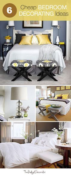 6 Cheap Bedroom Decorating Ideas! (Also really like the stools at the end of the bed in the picture)